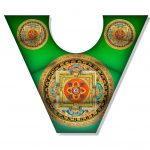 Almohadilla en Herradura Mandala Verde Yantra