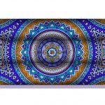 Almohadilla Rectangular Mandala Azul Naranja